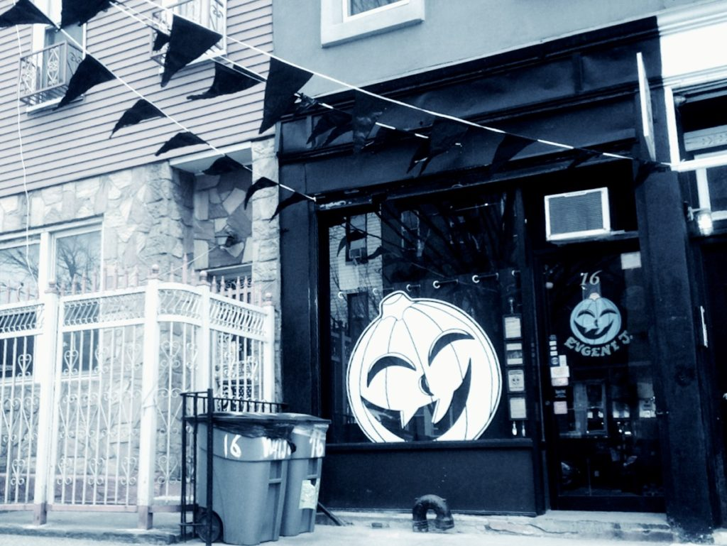 black and white storefront